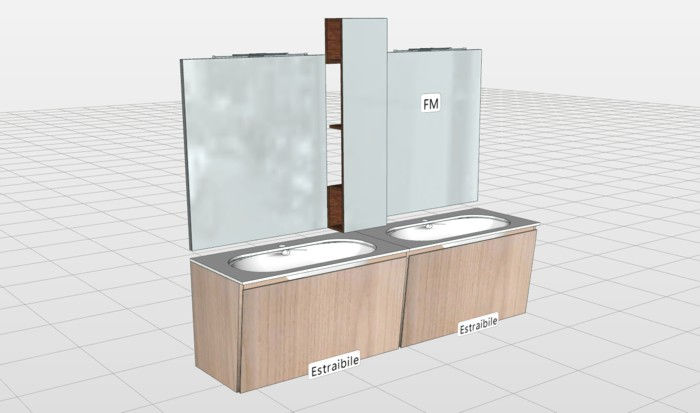 Mobili bagno moderni sospesi o a terra negozio a mestre for Progettazione mobili 3d