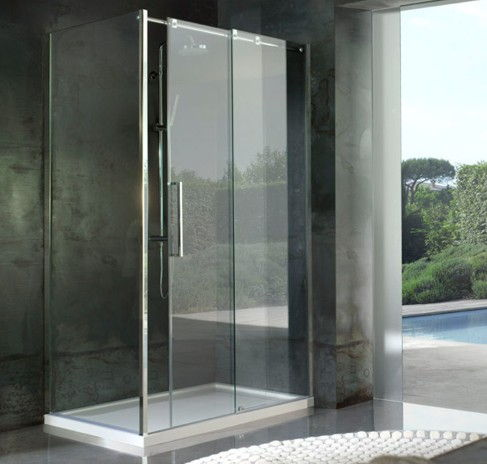 box doccia con doccia scorrevole acciaio alta 2mt pareti cristallo ...